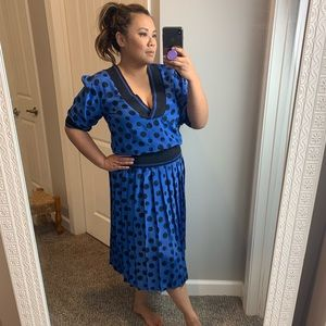 Vintage 80s 90s blue polka dot dress